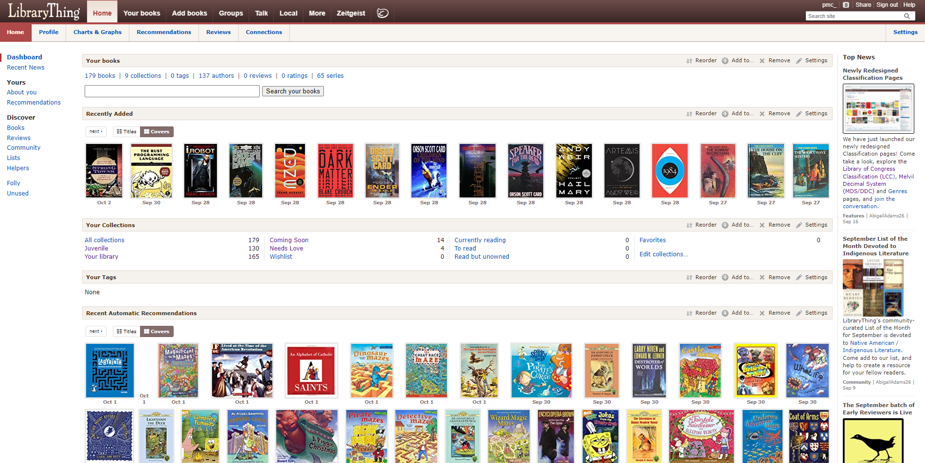 A screenshot of librarything.com/home with me logged in, showing my catalog and recommendations for me